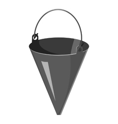 Fire bucket icon gray monochrome style vector