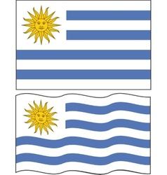 Flat and waving Uruguayan Flag vector