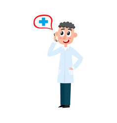 Flat young male doctor talking phone vector