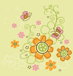 Flower and butterfly vector