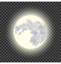 Full moon on the dark transparent background vector
