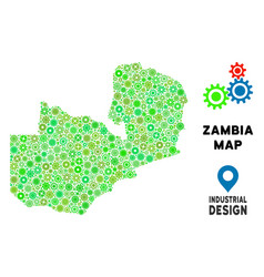 gears zambia map composition vector image