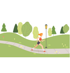 girl running in park young woman jogging vector image