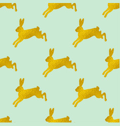 golden easter seamless pattern with rabbits vector image