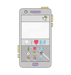 Grated smartphone technology with chat emojis vector