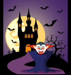 halloween background with dracula and full moon vector image