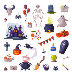 halloween symbols big set holiday party design vector image