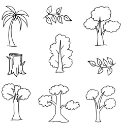 Hand draw set of tree doodles vector