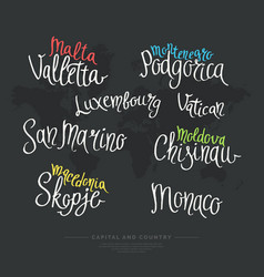 hand drawn lettering country and capital europe vector image