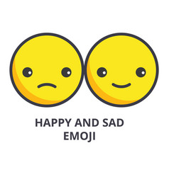 happy and sad emoji line icon sign vector image
