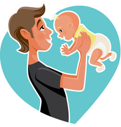 Happy father holding his baby cartoon vector