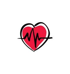 Heart with ekg cardiology icon vector