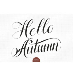 hello autumn hand drawn lettering elegant vector image