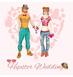 Hipster wedding card vector