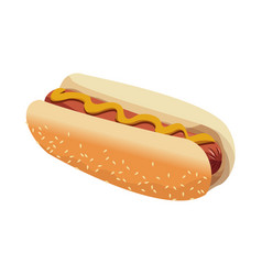 hot dog american fast food sausage with mustard vector image