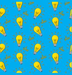 idea bulb flat design icon seamless pattern vector image