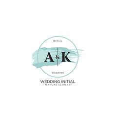 Initial ak letter beauty logo handwriting vector