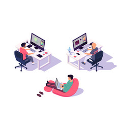 Isometric 3d office designers with businessman and vector