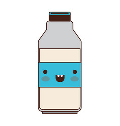 kawaii milk bottle in colorful silhouette vector image vector image