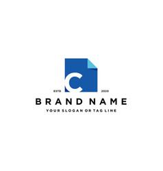 Letter c document logo design vector