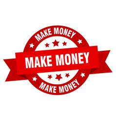 make money ribbon make money round red sign make vector image