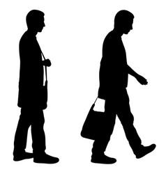 Men walking with bag vector