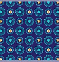 Mod blue gold jewish star background pattern vector