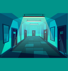 Modern office corridor at night cartoon vector