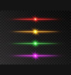 Neon line set color shine beams glowing line set vector