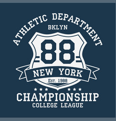 new york bklyn number typography for t-shirt vector image