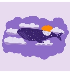 Night whale flies through the sky vector