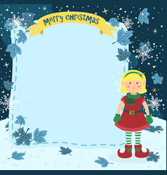 notes christmas elf blonde girl vector image