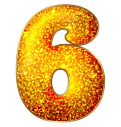 Number 6 made of shiny material vector image