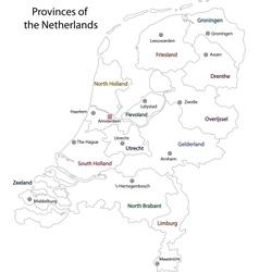 Outline netherlands map vector