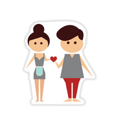 Paper sticker on white background man and woman vector