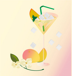 Peach fruits fresh cocktail glass summer drink vector
