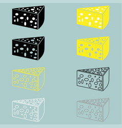 Piece of cheese yellow black grey white vector