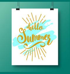 poster with a handwritten phrase-hello summer vector image