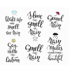 Rain Autumn Days quotes typography set vector image