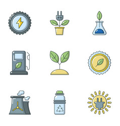 Refueling station icons set cartoon style vector