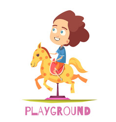 Rocking horse playground composition vector