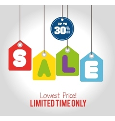 Sale limited time only discount sale tags hanging vector