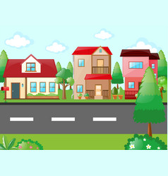 scene with houses in neighborhood vector image