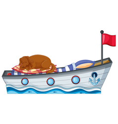 scene with little dog sleeping on boat bed vector image
