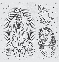 Seamless religious tattoo patterns vector