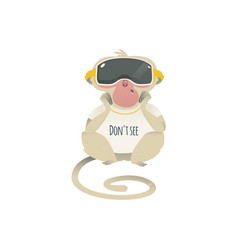 See no evil monkey in vr headset vector
