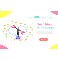 Serching for investment flat isometric vector