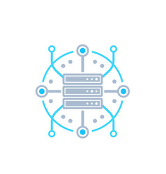 Server hosting network icon vector