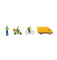 Set delivery service fast vector