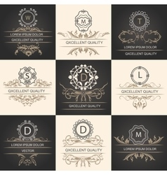 Set leaflets ornamental logos vector